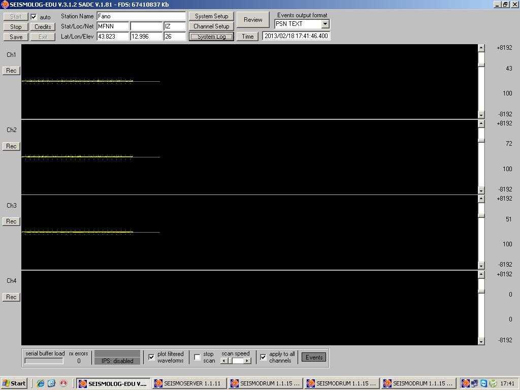 immagine del programma per la registrazione dei terremoti